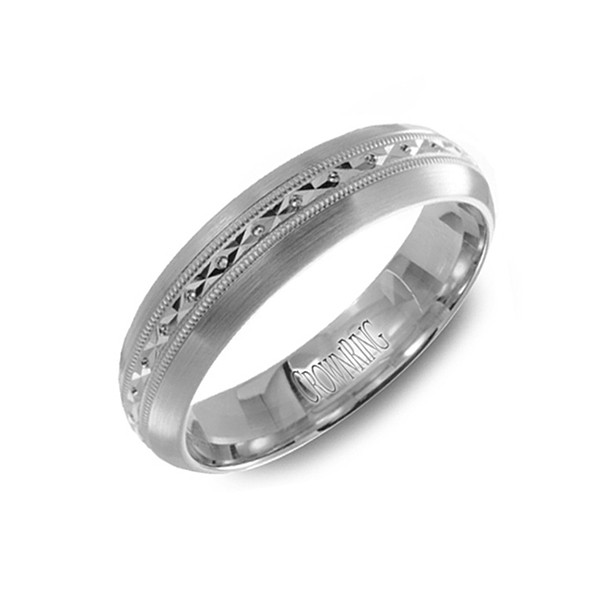 Crown Ring White Gold Carved Center Band