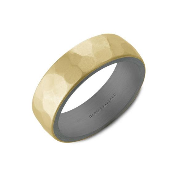 Crown Ring Bleu Royale Hammered Gold and Tantalum Wedding Band main view