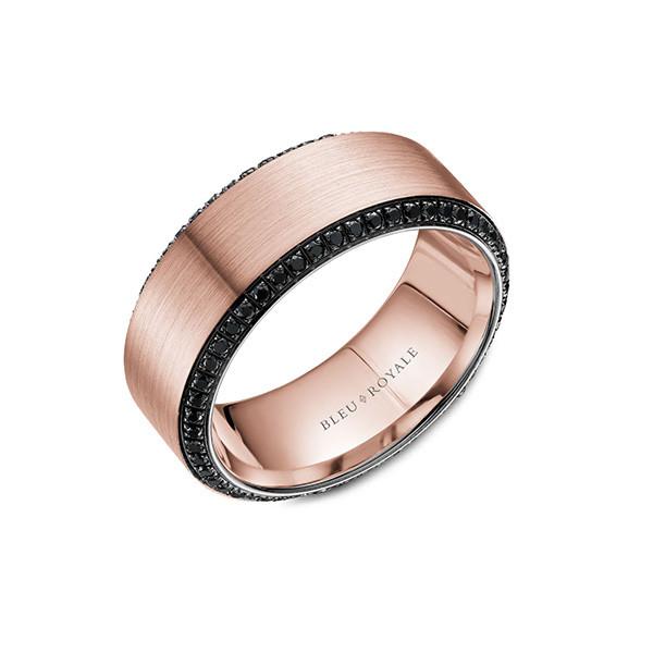 Crown Ring Bleu Royale 14K Gold Wedding Band with Black Diamonds main view