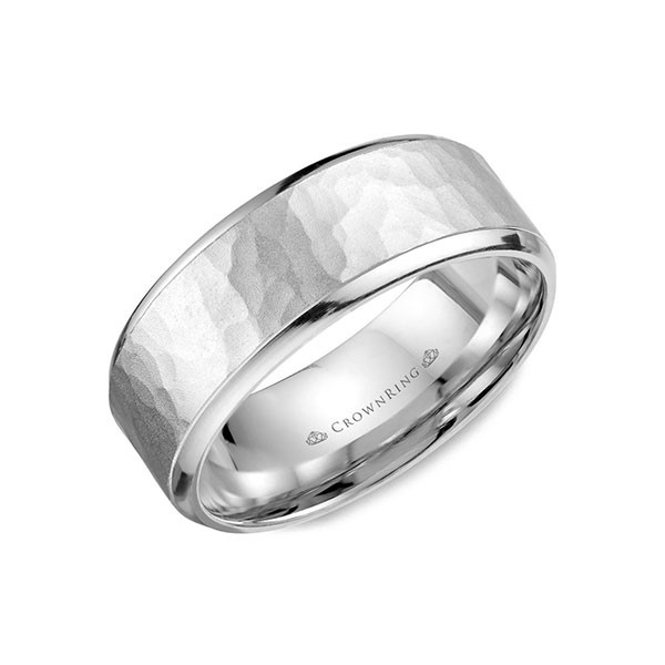 Crown Ring Hammered Wedding Ring for Men