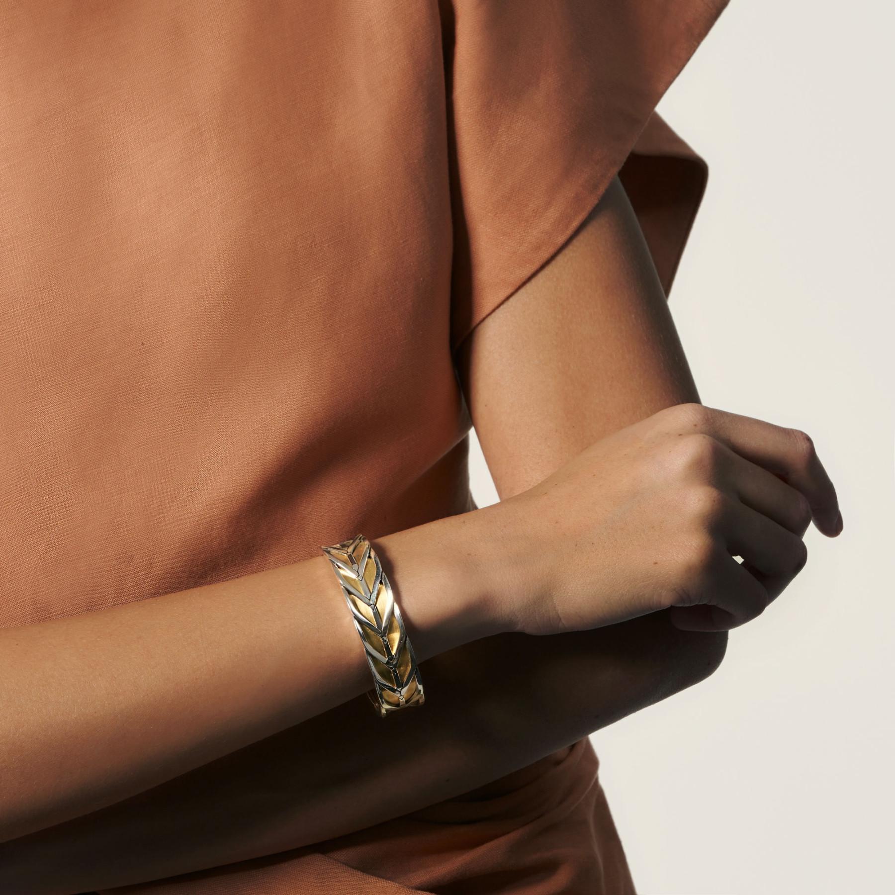 John Hardy Modern Chain Two-Tone Cuff Bracelet on model