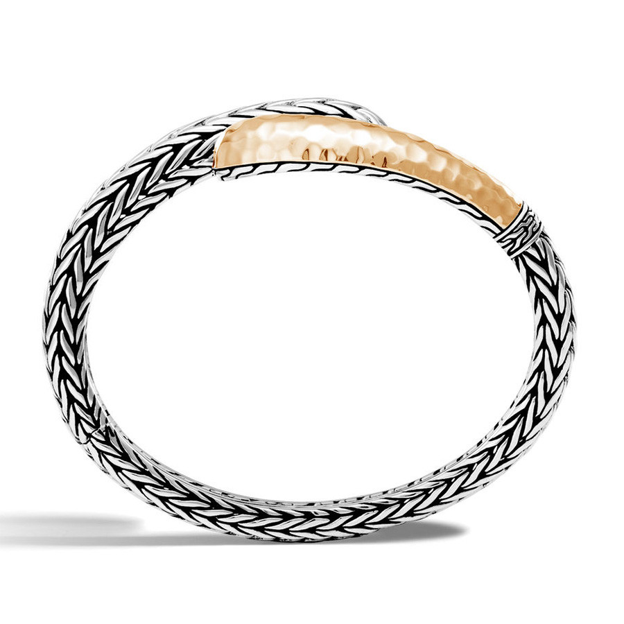 John Hardy Hammered Gold & Silver Classic Chain Slim Cuff Side View