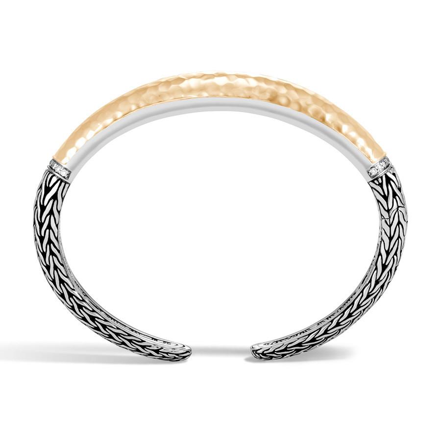 John Hardy Classic Chain Medium Silver & Hammered Gold Diamond Cuff Profile View