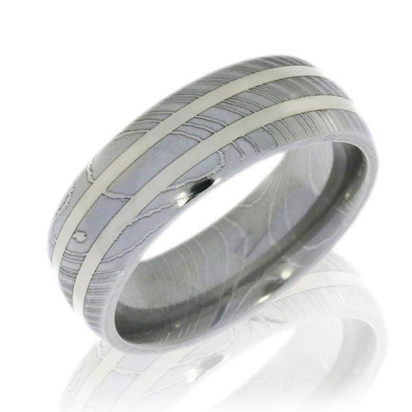 Lashbrook White Gold Double Inlay & Damascus Steel Band