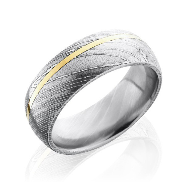 Lashbrook Polished Damascus Steel & Yellow Gold Inlay Band
