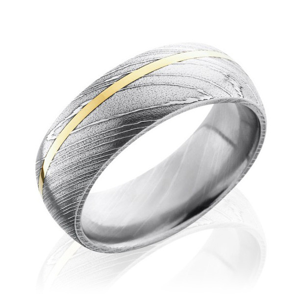 Lashbrook Satin Damascus Steel & Yellow Gold Inlay Band