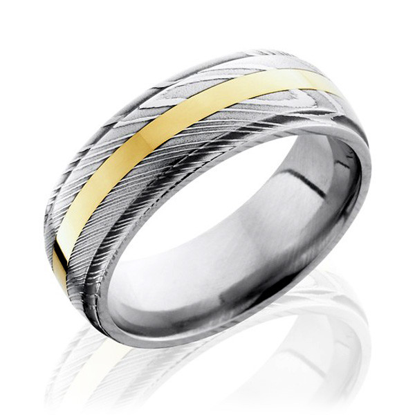 Lashbrook Damascus Steel with Yellow Gold Inlay Wedding Band