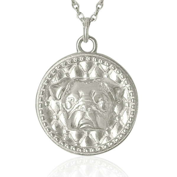 Dog Fever Silver Pug Tag Pendant