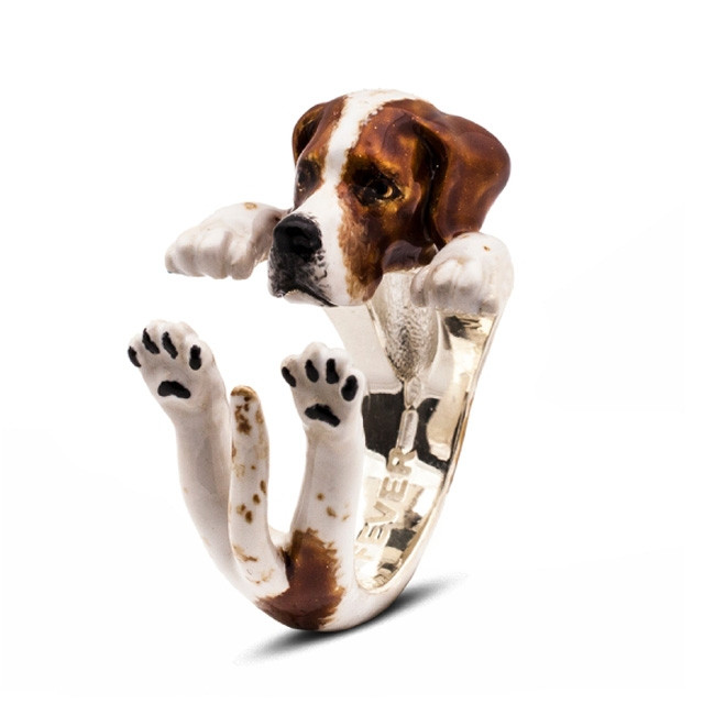 Dog Fever Enamel Pointer Hug Ring