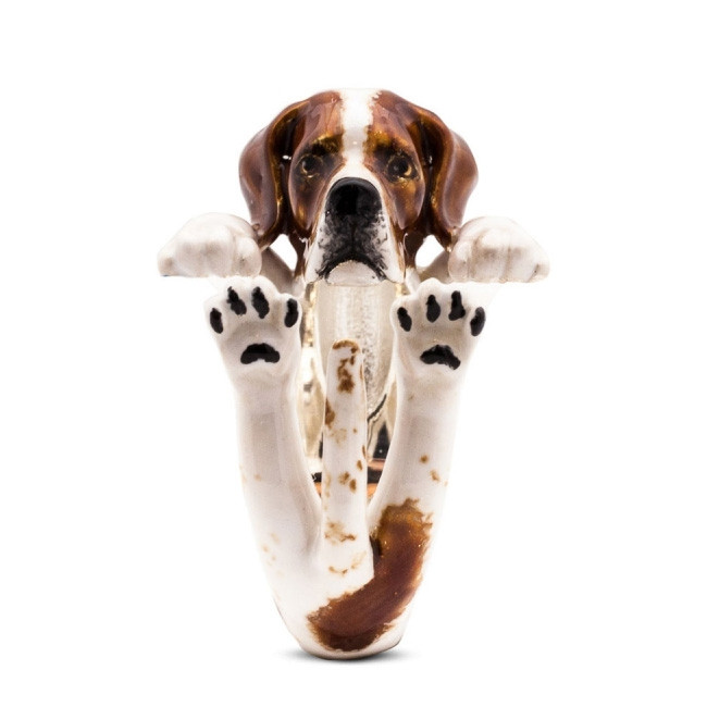 Dog Fever Enamel Pointer Hug Ring Front View