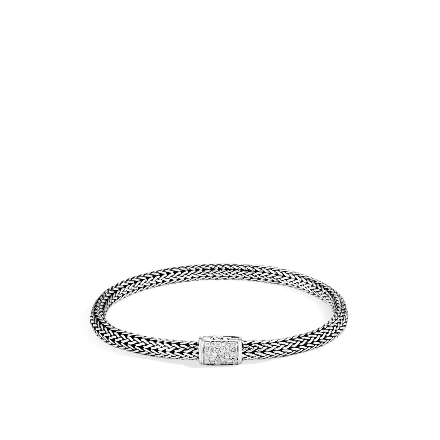 John Hardy Reversible 5mm Diamond Bracelet in Silver FRONT IMAGE
