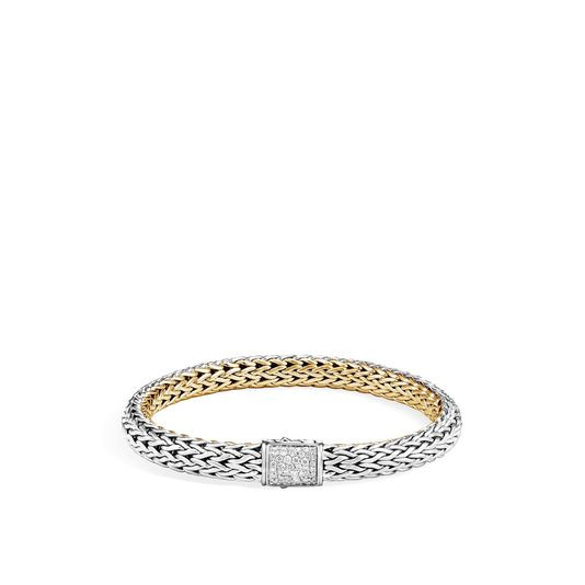 John Hardy Classic Chain Two Tone Bracelet with Diamonds (7.5mm) front image silver