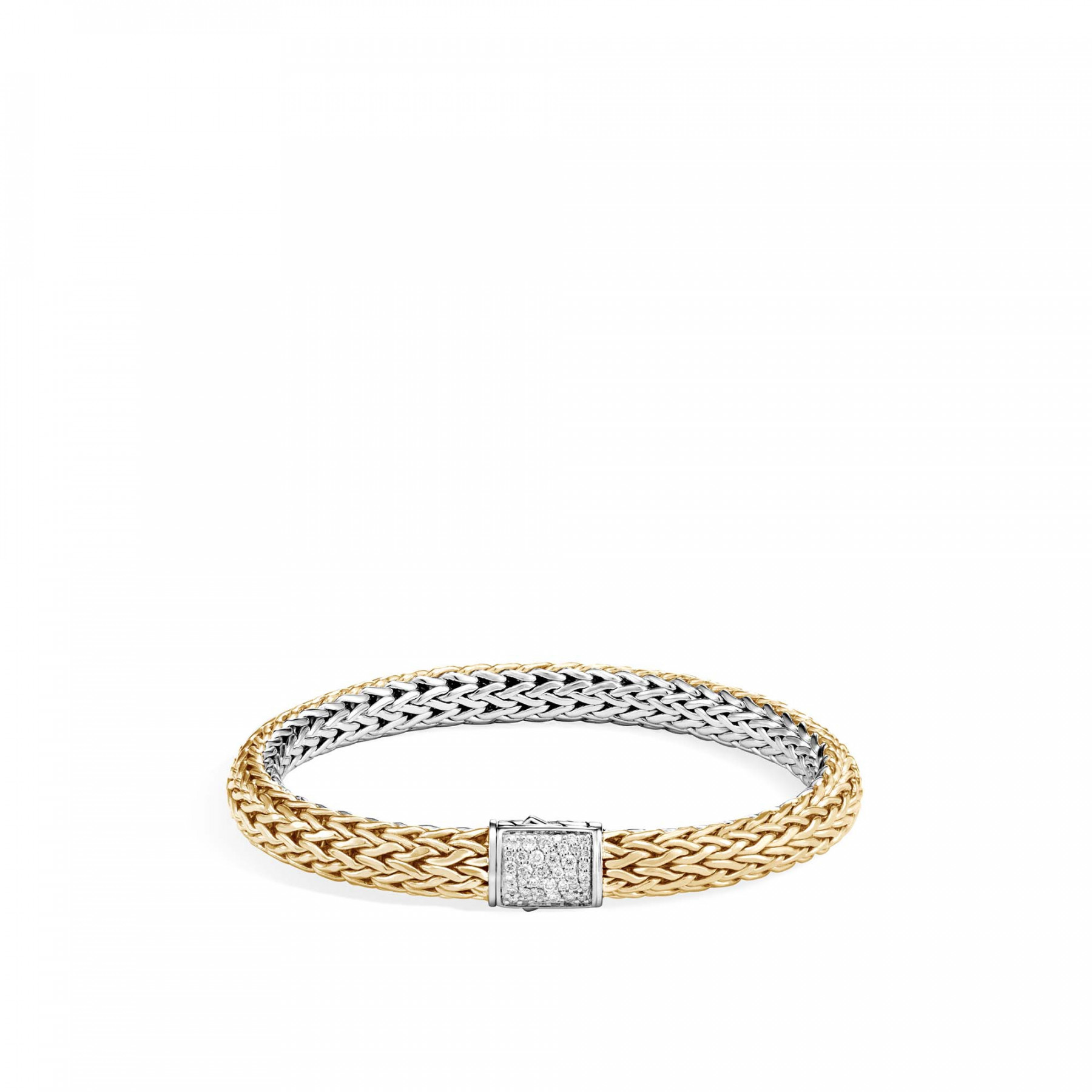 John Hardy Classic Chain Two Tone Bracelet with Diamonds (7.5mm) front image gold