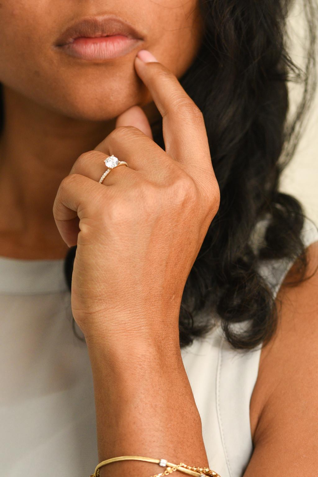 Solitaire Pavé Diamond Engagement Ring on model