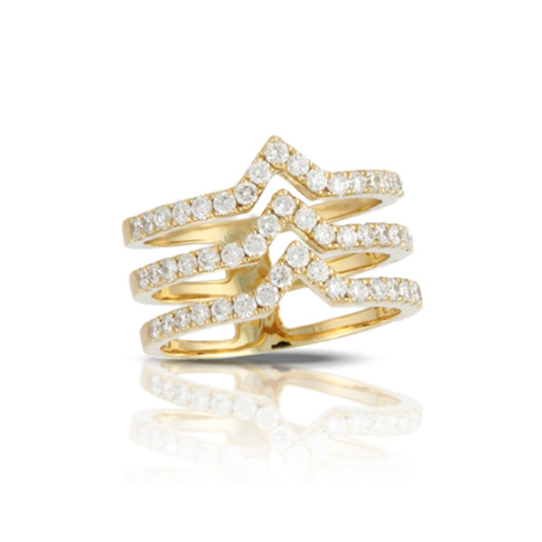 Chevron Yellow Gold Diamond Gladiator Ring
