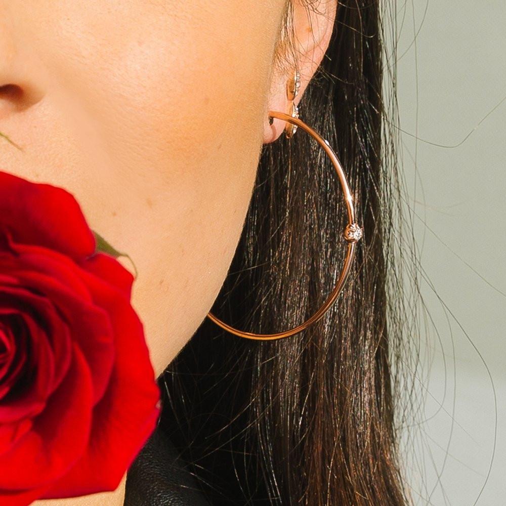 Rose Gold Rosette Diamond Hoop Earrings by Carbon & Hyde