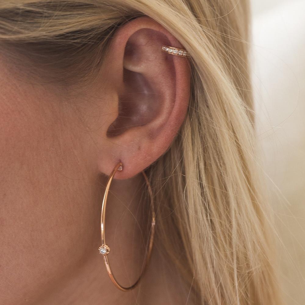 Yellow Gold Rosette Diamond Hoop Earrings by Carbon & Hyde on Model