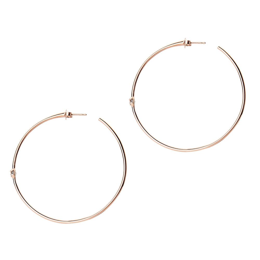 Rose Gold Rosette Diamond Hoop Earrings by Carbon & Hyde Side View