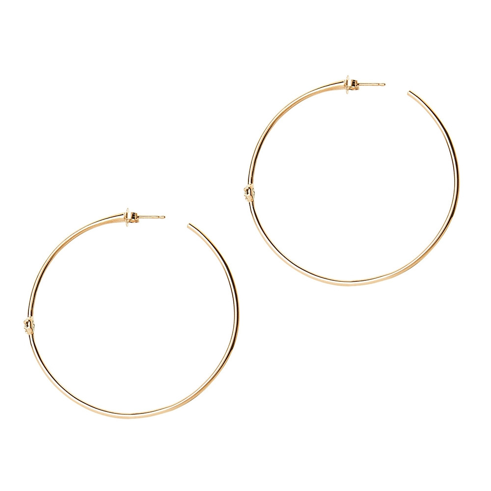 Yellow Gold Rosette Diamond Hoop Earrings by Carbon & Hyde Side View
