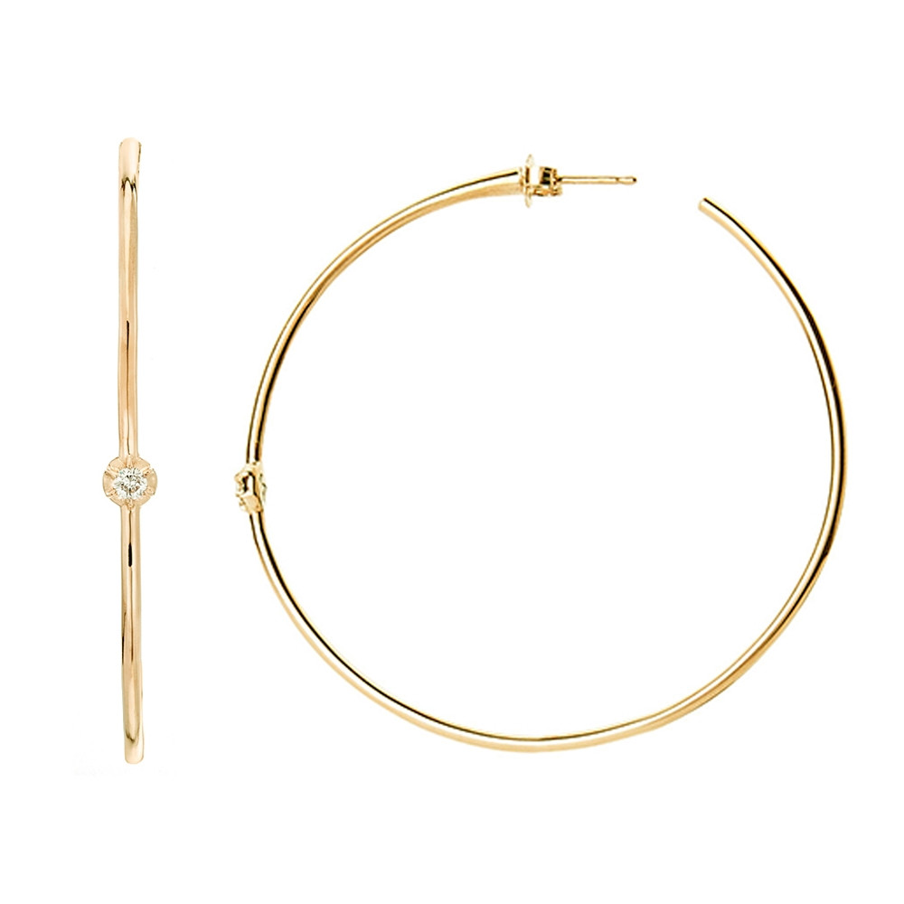 Yellow Gold Rosette Diamond Hoop Earrings by Carbon & Hyde