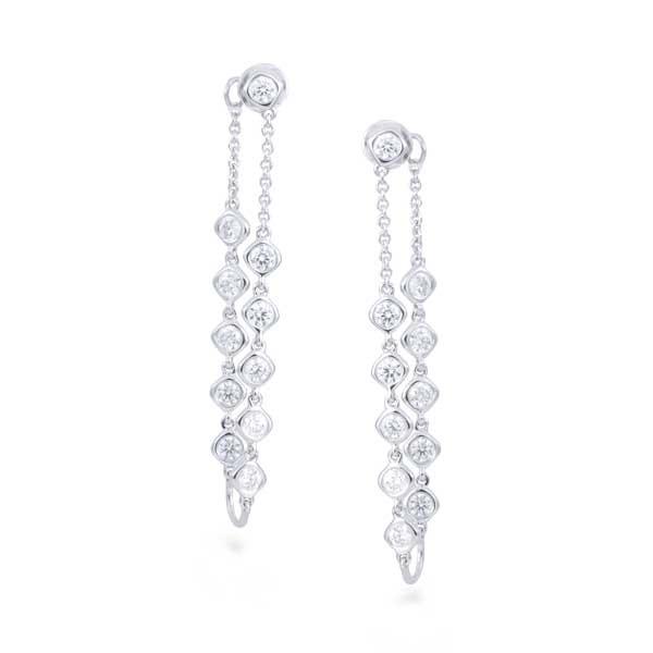 White Gold Double Diamond Dangle Earrings