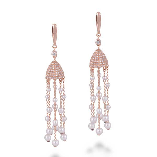 Rose Gold Diamond & Pearl Drop Earrings