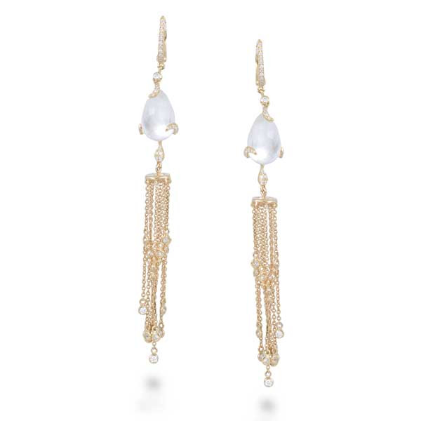 Yellow Gold Mother of Pearl and Diamond Drop Earrings