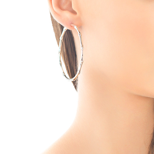 John Hardy Bamboo Sterling Silver Hoop Earrings On Model