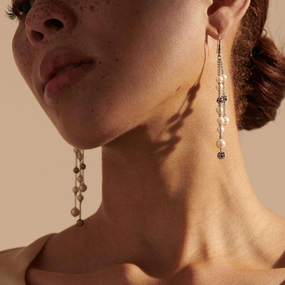 John Hardy Classic Chain Chandelier Dangle Earrings in Sterling Silver on model