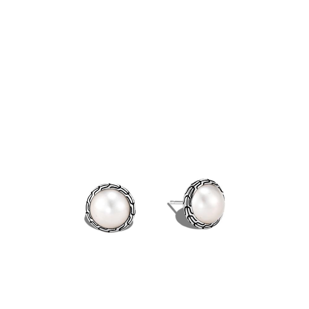 John Hardy Classic Chain Pearl Stud Earrings in Sterling Silver