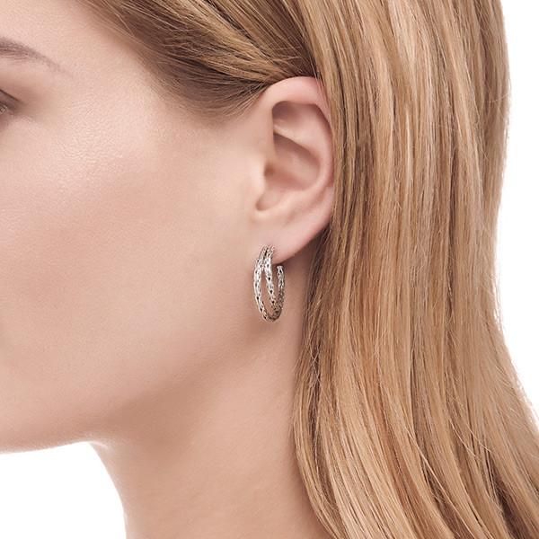 John Hardy Double Hoop Silver Earrings on Model