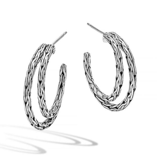 John Hardy Double Hoop Silver Earrings