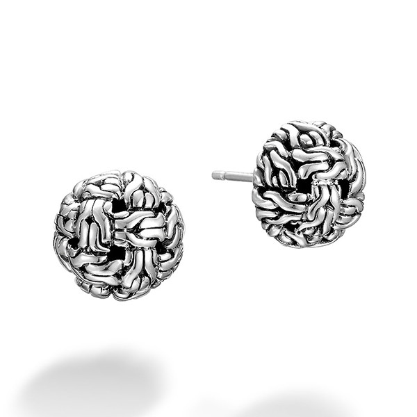 John Hardy Classic Chain Knot Stud Silver Earring