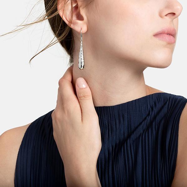 John Hardy Hammered Silver Long Classic Chain Drop Earrings on Model