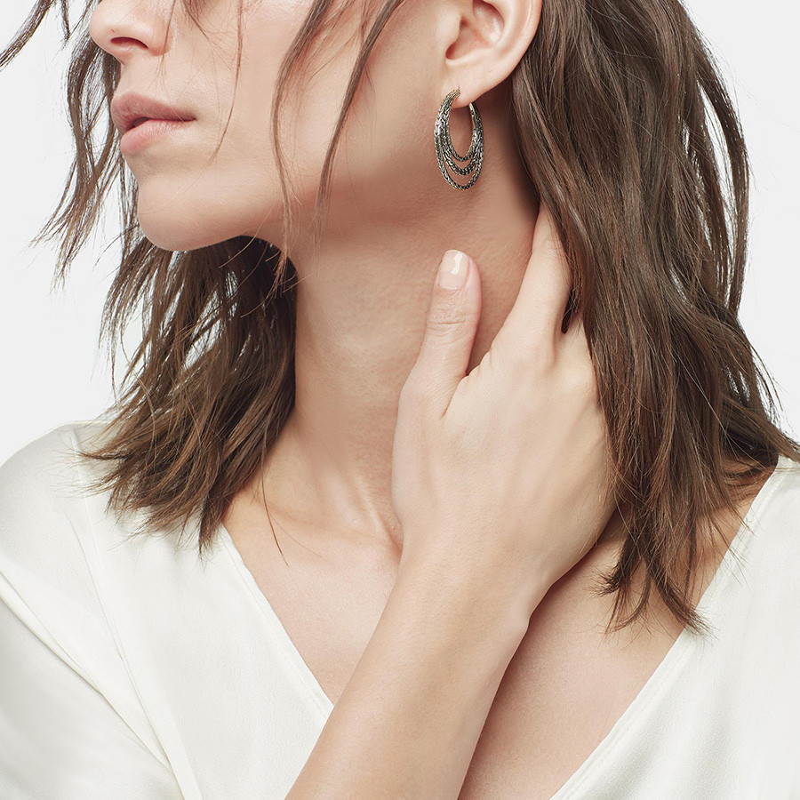 John Hardy Classic Chain Medium Silver Hoop Three Row Earrings Model View