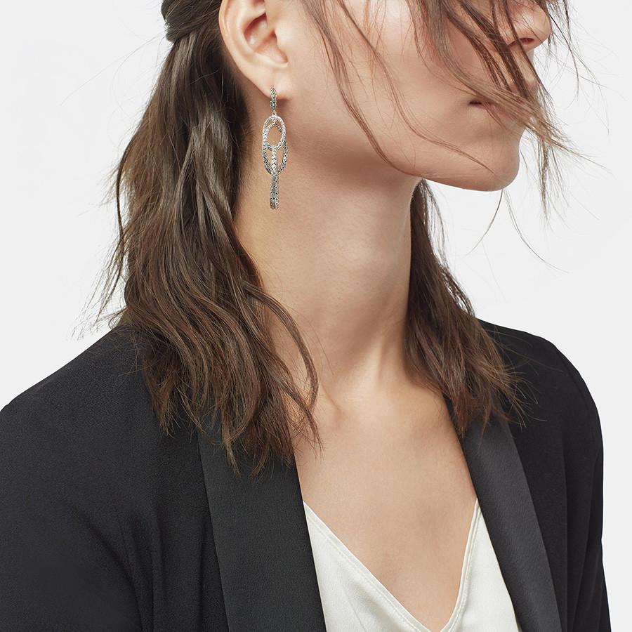 John Hardy Classic Chain Silver Drop Link Earrings on Model