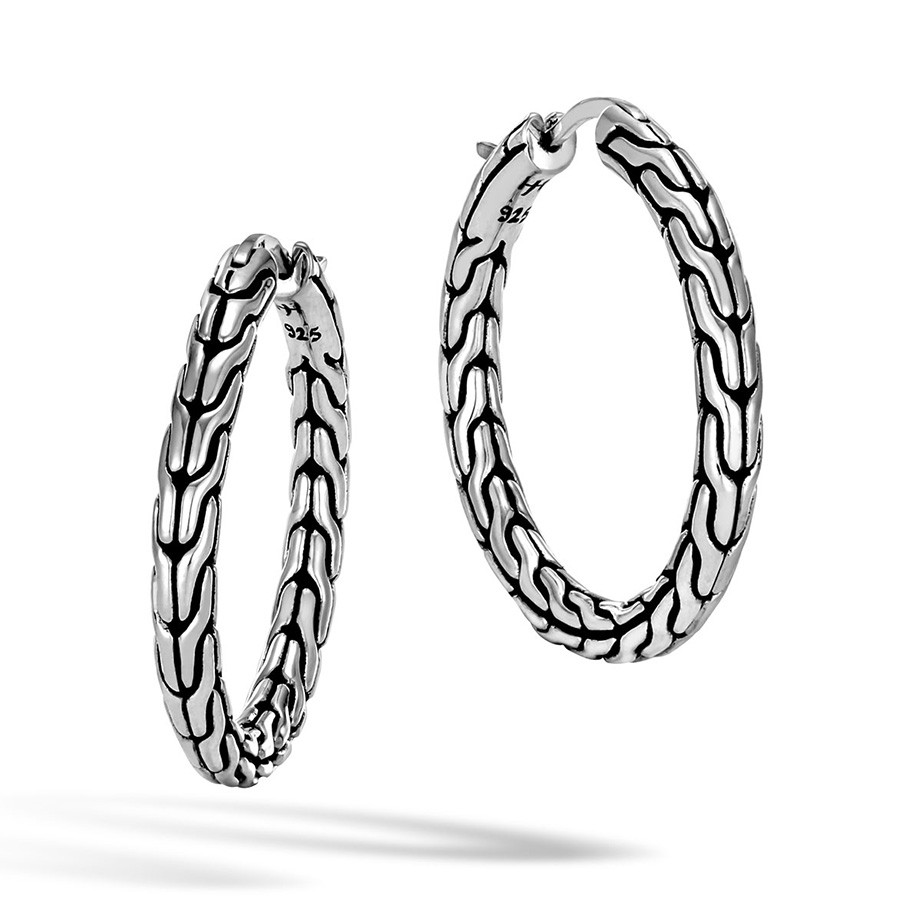 John Hardy Medium Silver Classic Chain Hoop Earrings