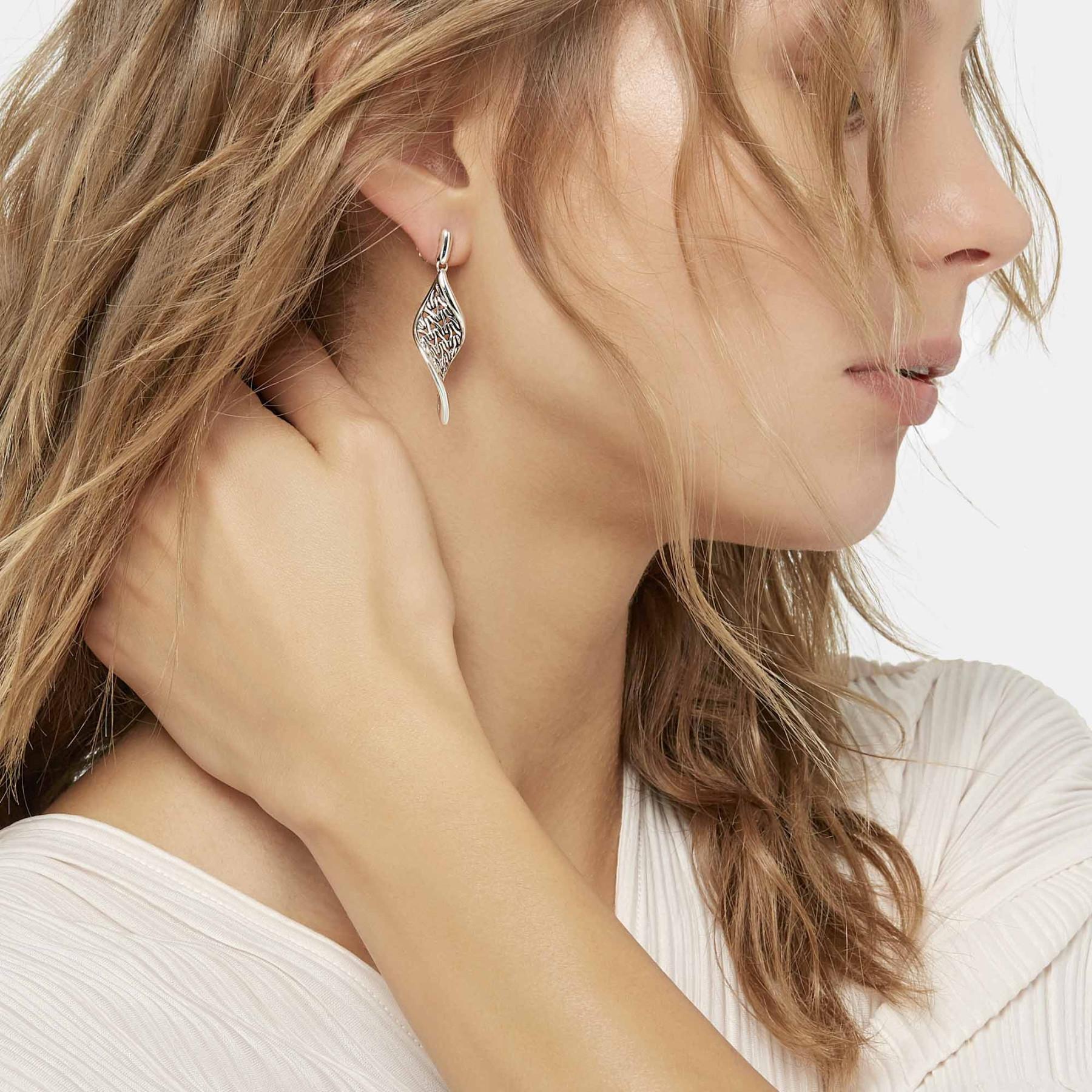 John Hardy Classic Chain Wave Drop Earrings on model