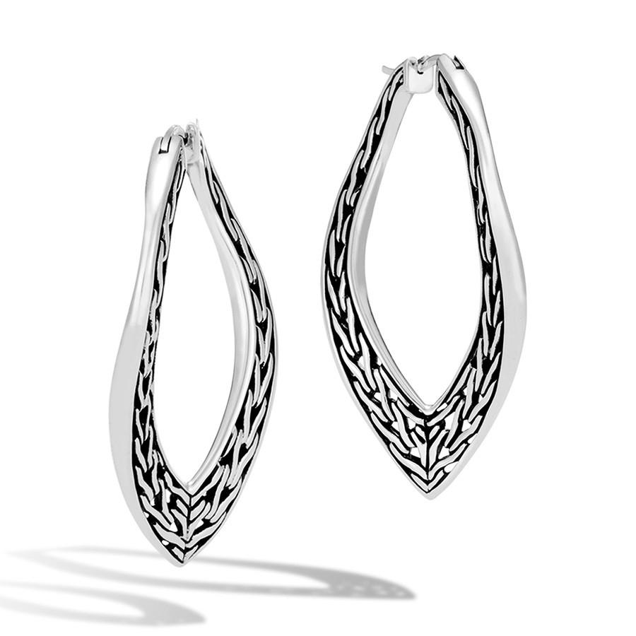 John Hardy Silver Classic Chain Large Wave Hoop Earrings