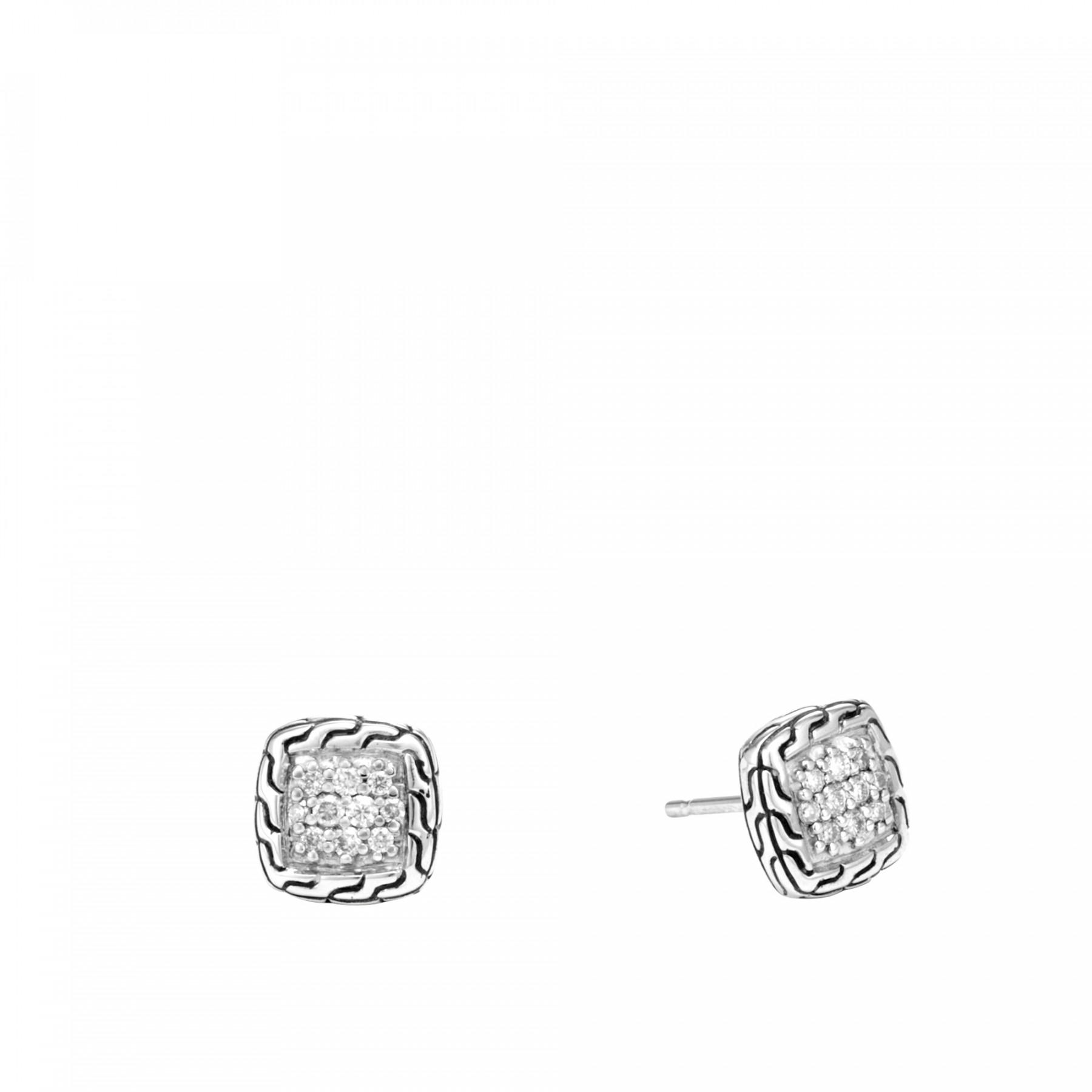 John Hardy Classic Chain Diamond Stud Earrings in Sterling Silver