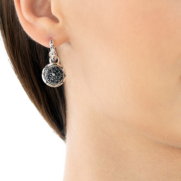 John Hardy Black Sapphire Round Drop Hoop Earrings on Model