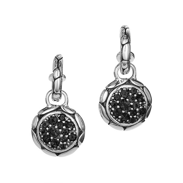 John Hardy Black Sapphire Round Drop Hoop Earrings
