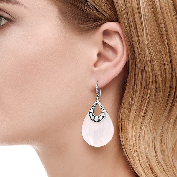 John Hardy Mother of Pearl Drop Dot Earrings On Model