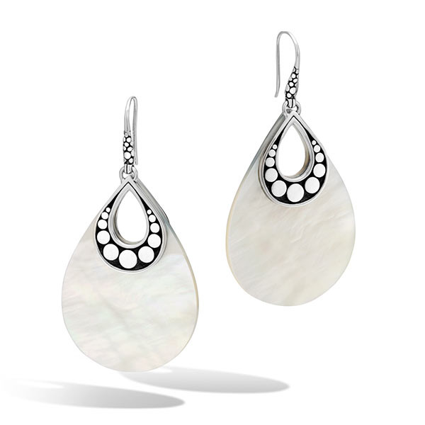John Hardy Mother of Pearl Drop Dot Earrings
