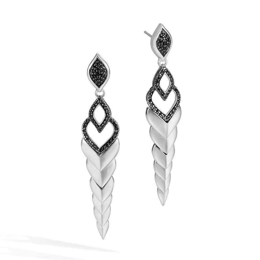 John Hardy Black Sapphire & Spinel Long Drop Legends Naga Earrings