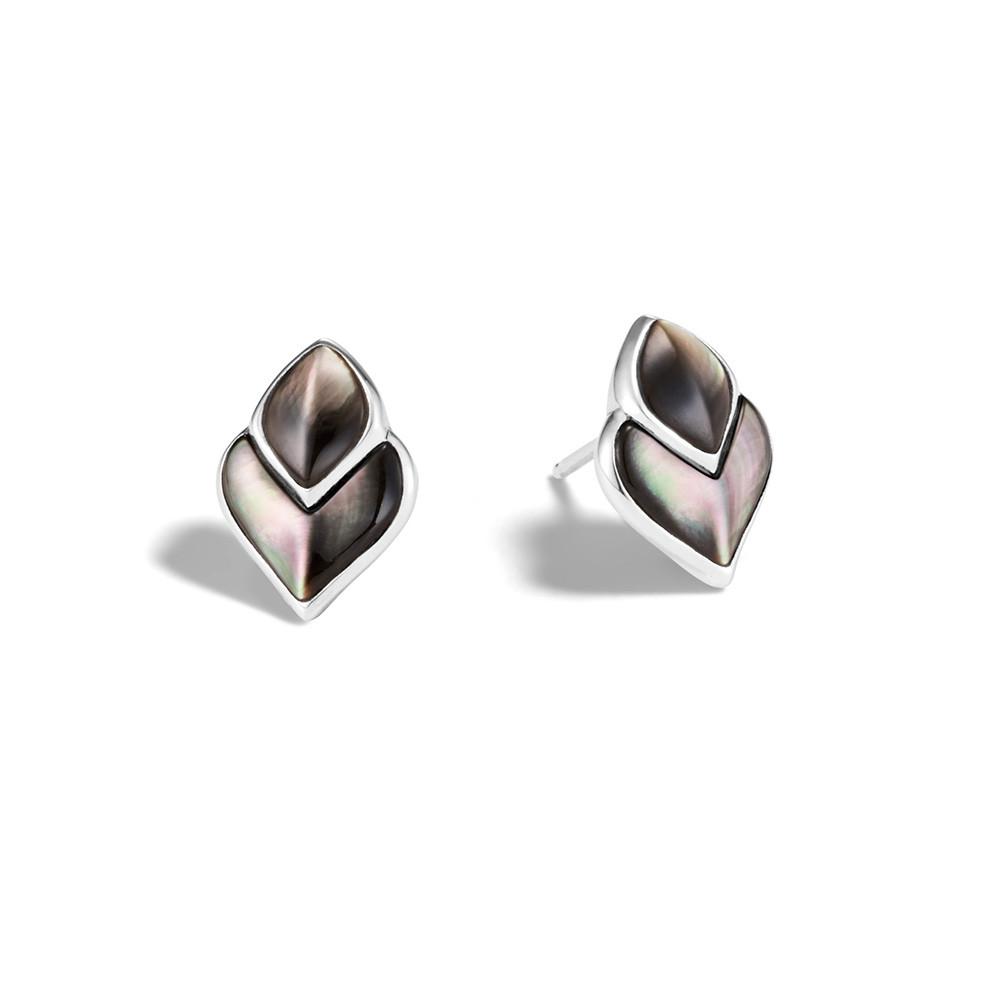 John Hardy Naga Legends Grey Mother of Pearl Dragon Scale Stud Earrings