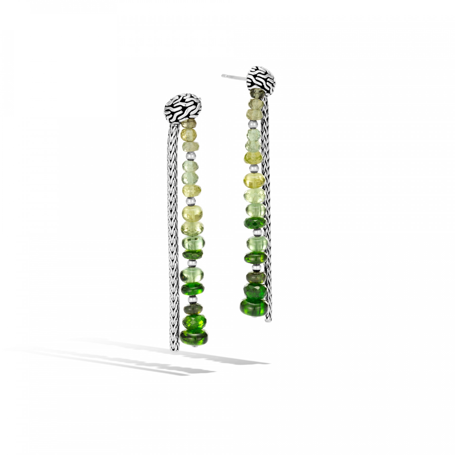 John Hardy Classic Chain Chrome Tourmaline Drop Earrings