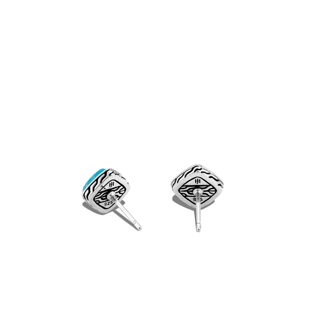 John Hardy Classic Chain Square Turquoise Stud Earrings in Sterling Silver back view