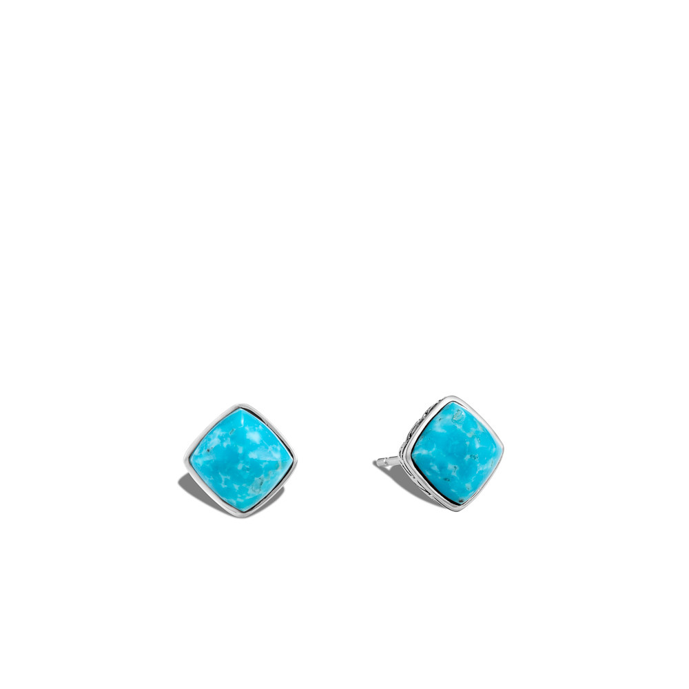 John Hardy Classic Chain Square Turquoise Stud Earrings in Sterling Silver front view