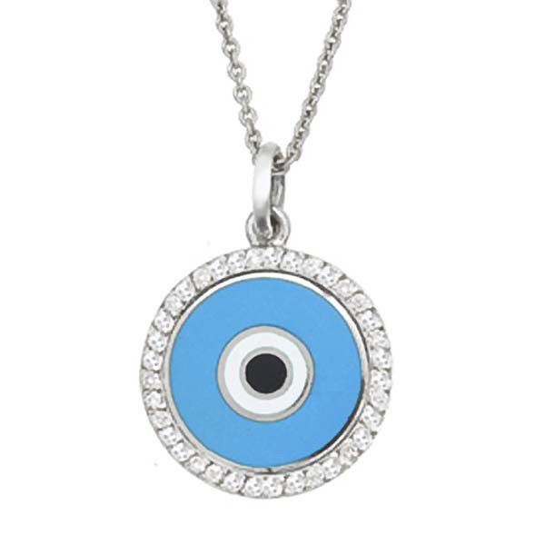 Aaron Basha Evil Eye with Diamonds .23tw 18kt White Gold Necklace